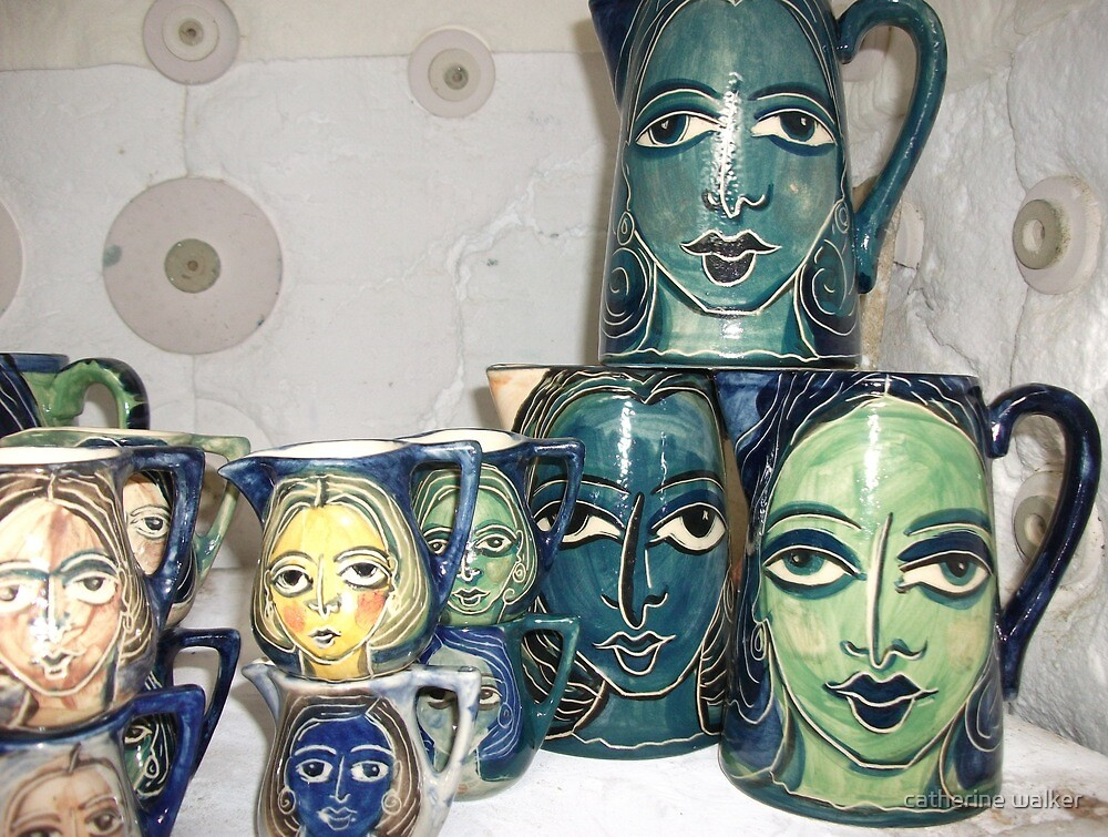 kiln view- painted pottery by catherine walker