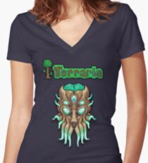 Terraria Moon Lord Head Women's Fitted V-Neck T-Shirt