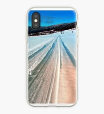 Winter road into the mountains iPhone Case