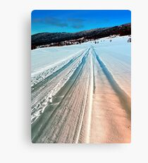 Winter road into the mountains Canvas Print