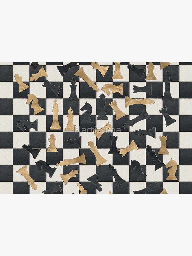 Chess Figures Pattern -Leather and gold texture by Nartissima