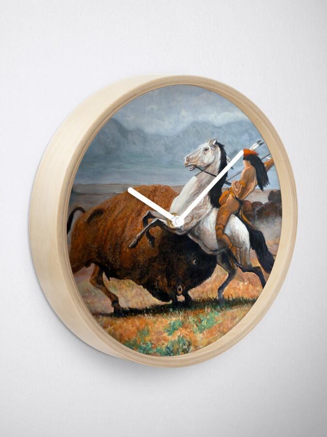 Alternate view of Buffalo Hunt Clock