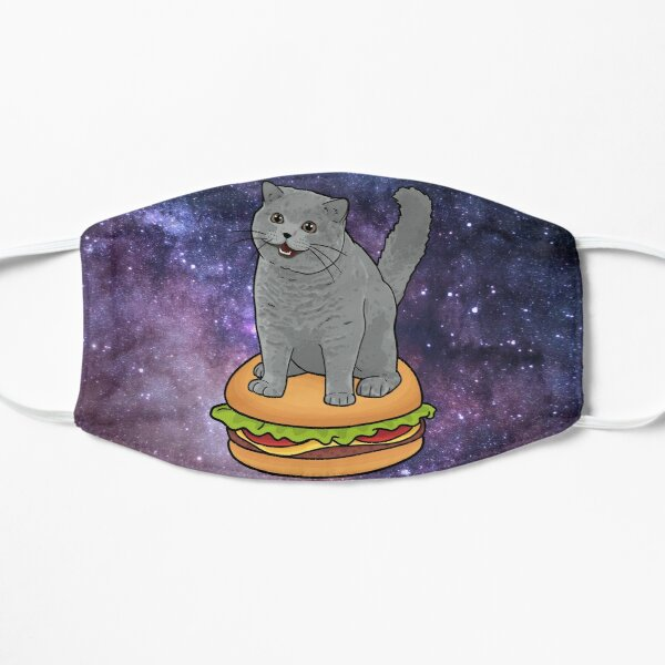 I CAN HAS CHEEZBURGER chubby meme cat in space Flat Mask