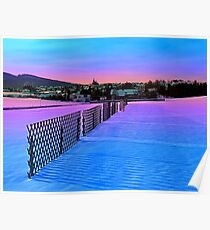 Fences on a winter sundown Poster