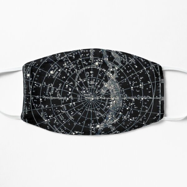 STAR CONSTELLATIONS : Vintage 1900 Galaxy Chart Map Flat Mask