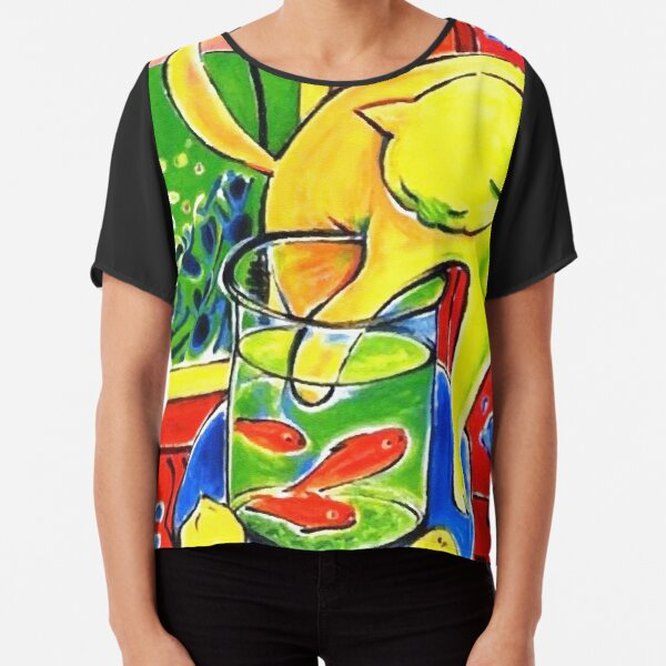 Henri Matisse, Le Chat Aux Poissons Rouges 1914, (The Cat With Red Fishes), Artwork, Men, Women, Youth Chiffon Top