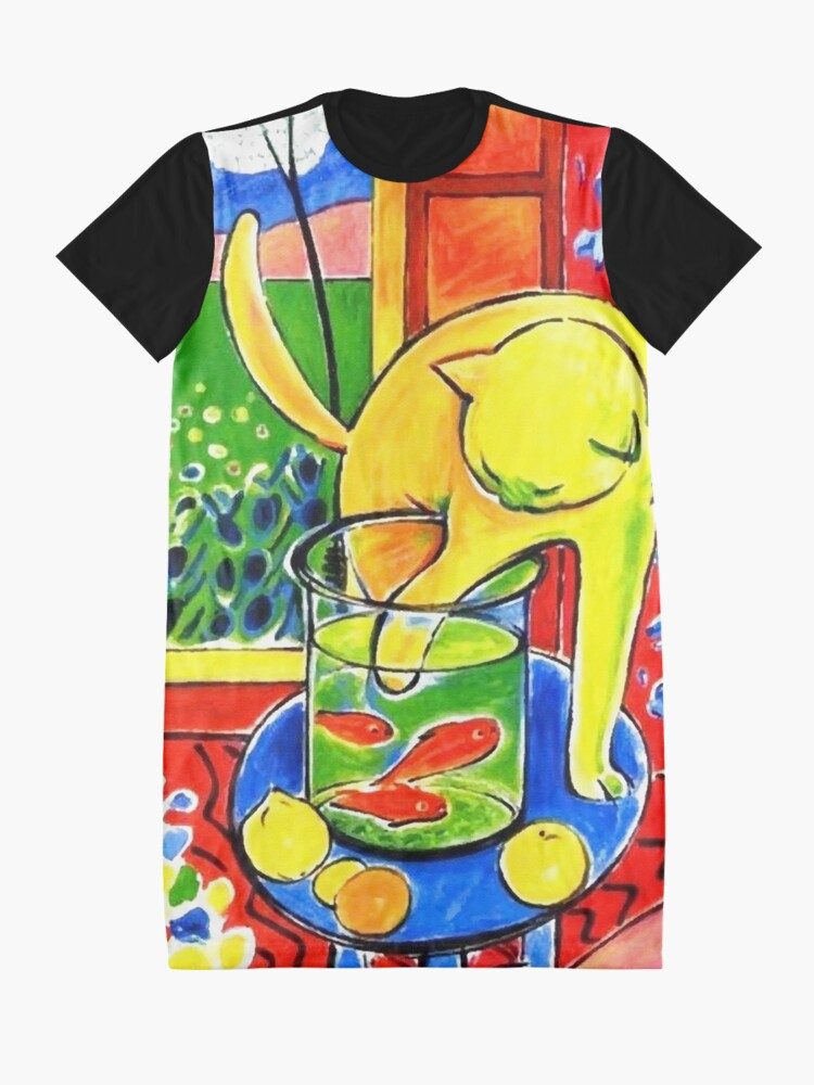 Alternate view of Henri Matisse, Le Chat Aux Poissons Rouges 1914, (The Cat With Red Fishes), Artwork, Men, Women, Youth Graphic T-Shirt Dress