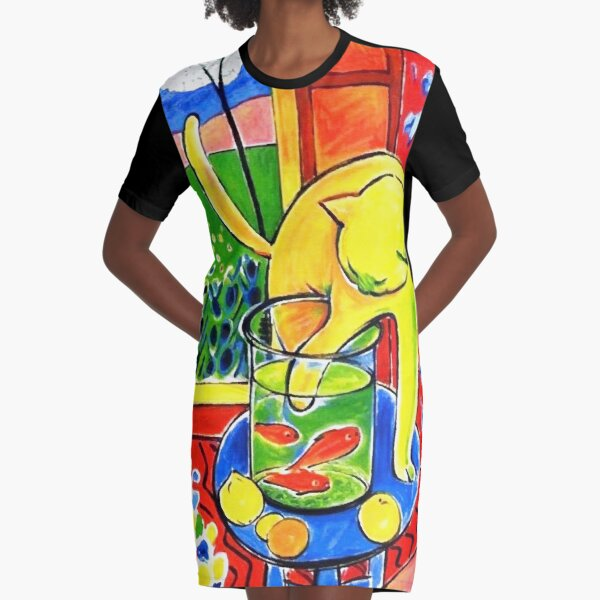 Henri Matisse, Le Chat Aux Poissons Rouges 1914, (The Cat With Red Fishes), Artwork, Men, Women, Youth Graphic T-Shirt Dress