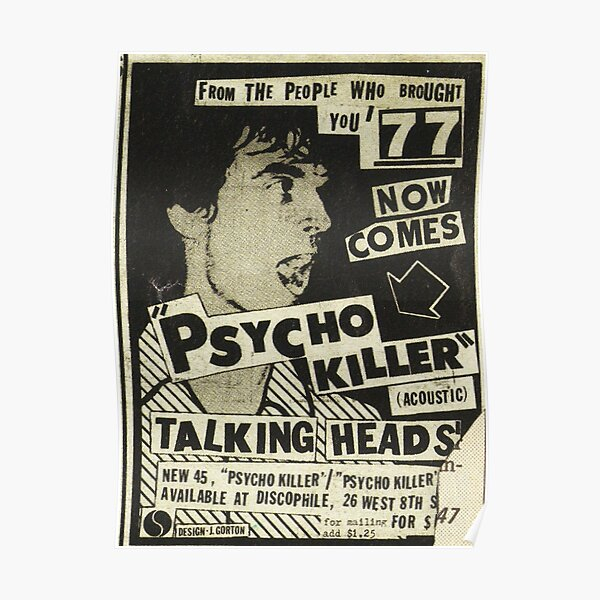 Psycho Killer - Affiche de concert post-punk Talking Heads 1977 Poster