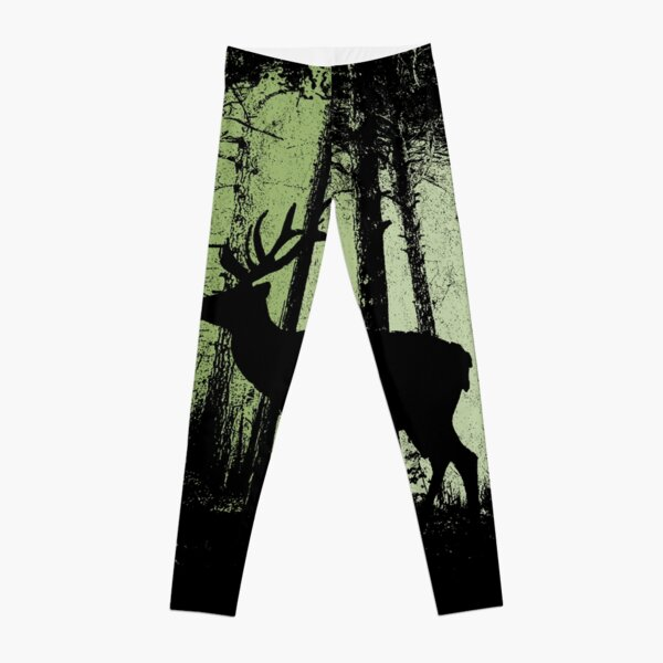 Twilight Forest Wildlife Deer Stag Silhouette Leggings