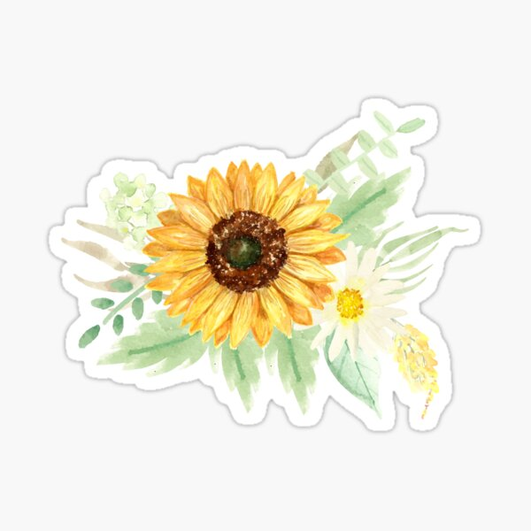 Sunflowers and Daisies | Watercolor | Art | Pattern | Beige Sticker