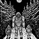 End of Bigfoot pen ink drawing by Vitaliy Gonikman