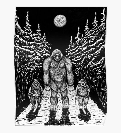 End of Bigfoot pen ink drawing Poster