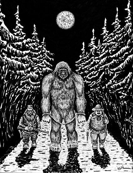 End of Bigfoot pen ink drawing by Vitaliy Gonikman