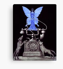 Telephone Fairy pen ink surreal drawing Canvas Print