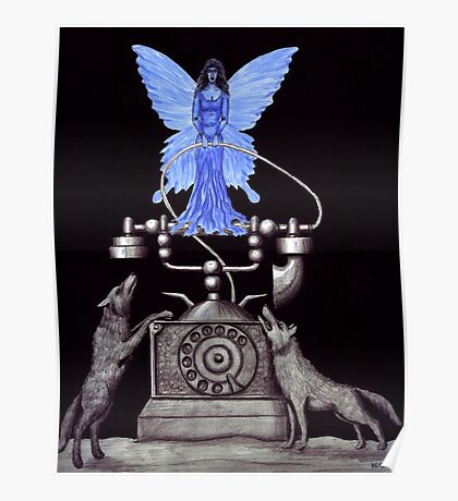 Telephone Fairy pen ink surreal drawing Poster