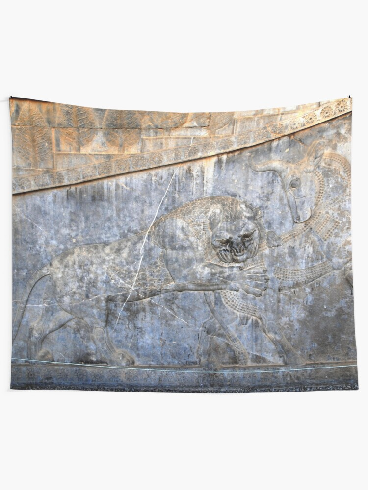 Leon And Bull Relief Persian Art Persepolis Persia Iran Tapestry By Worldways Redbubble