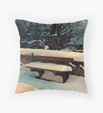 Snow covered bench Throw Pillow