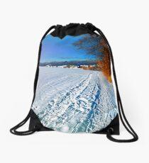 Hiking through a sunny winter scenery Drawstring Bag
