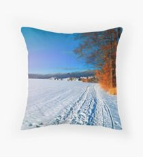 Hiking through a sunny winter scenery Throw Pillow