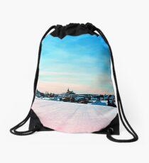 Village scenery in winter wonderland Drawstring Bag