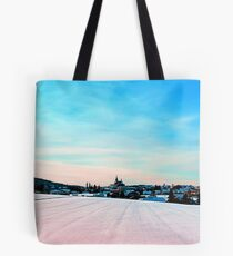 Village scenery in winter wonderland Tote Bag