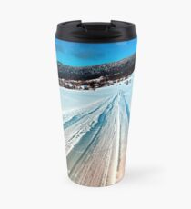 Winter road into the mountains Travel Mug