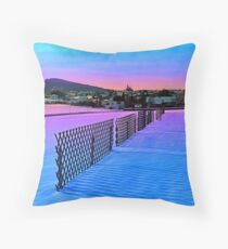 Fences on a winter sundown Throw Pillow