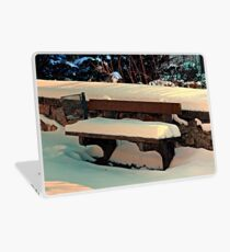 Snow covered bench Laptop Skin