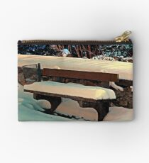 Snow covered bench Studio Pouch