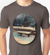 Snow covered bench Unisex T-Shirt
