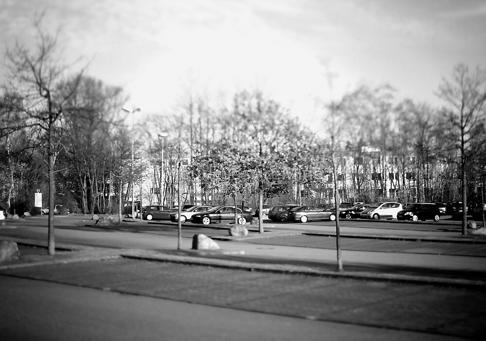 #NeinGrenze - Parking lot b&w by OLIVER W