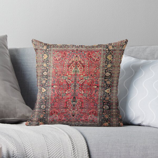 Antique Persian Red Rug Throw Pillow