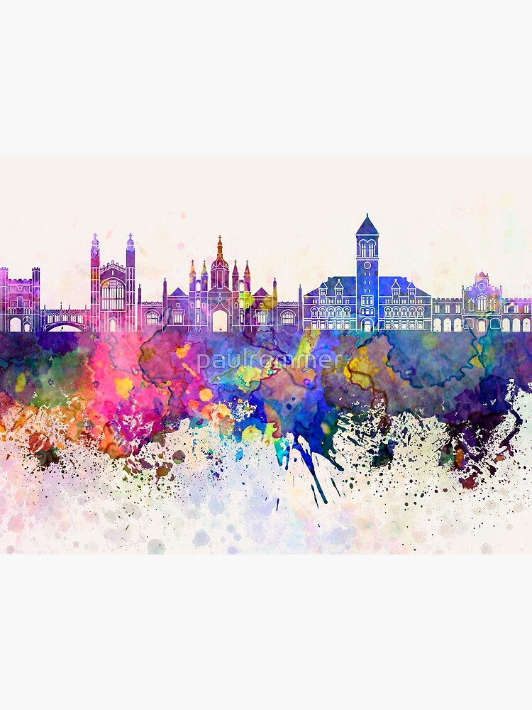 Cambridge skyline in watercolor background by paulrommer
