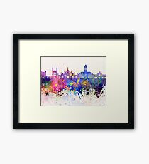 Cambridge skyline in watercolor background Framed Print