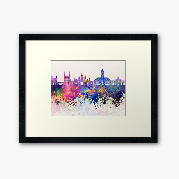 Cambridge skyline in watercolor background Framed Art Print