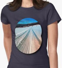 Winter road into the mountains Women's Fitted T-Shirt