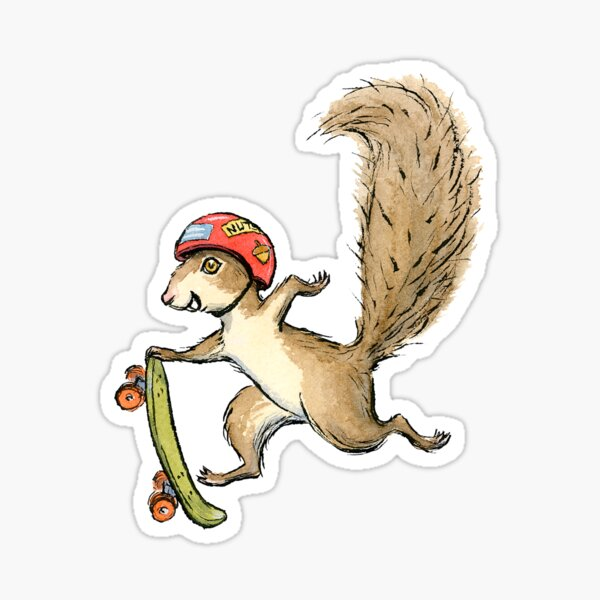 Skater Squirl, Skateboarding Squirrel Design Sticker