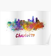 Charlotte skyline in watercolor Poster