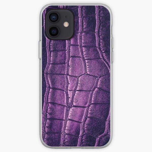Violet Crocodile Leather iPhone Soft Case