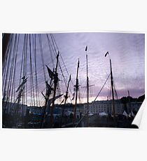 Tall ships in dock with pink sunset, Brest Maritime festival, France Poster