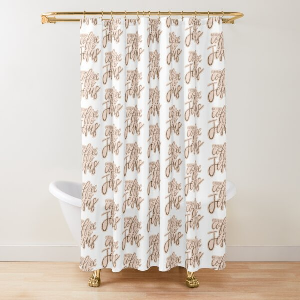 Fueled by Coffee and Jesus Lettering Shower Curtain