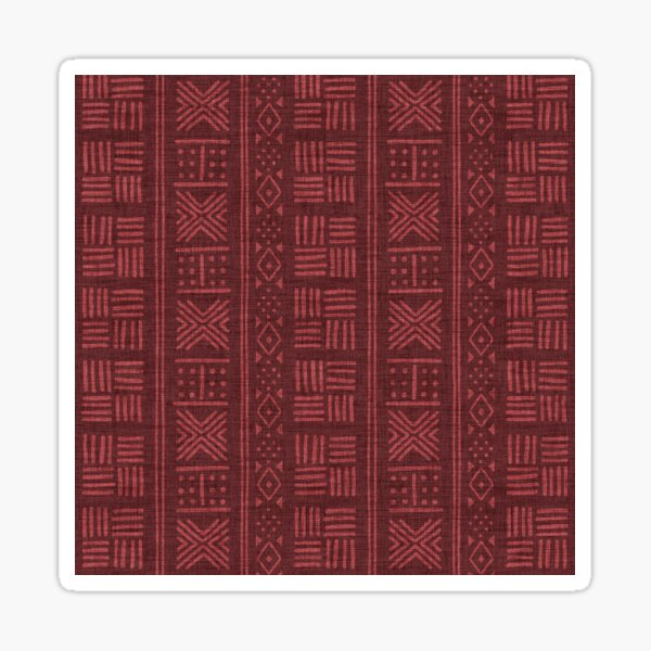 Rich red dots, lines and stripes on textured cloth - abstract geometric pattern Sticker