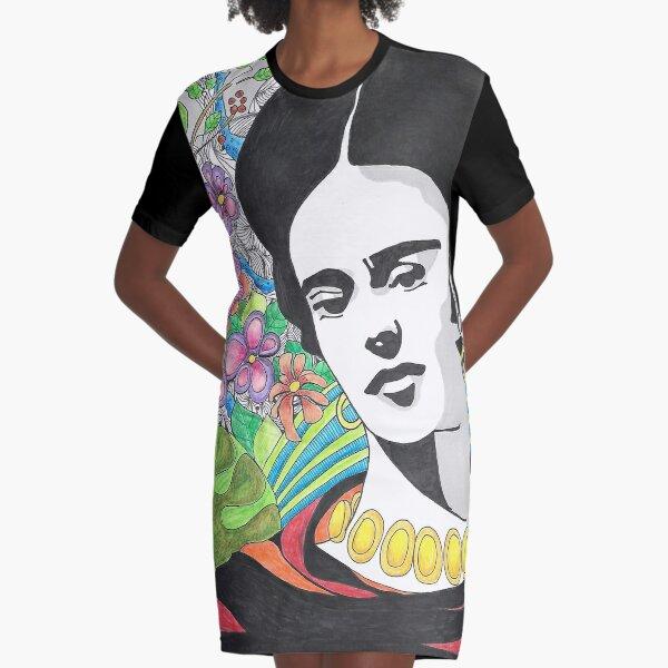 Frida Kahlo Icon  Graphic T-Shirt Dress