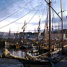 Tall ships in dock at sunset, Brest Maritime festival 2008, France by silverportpics