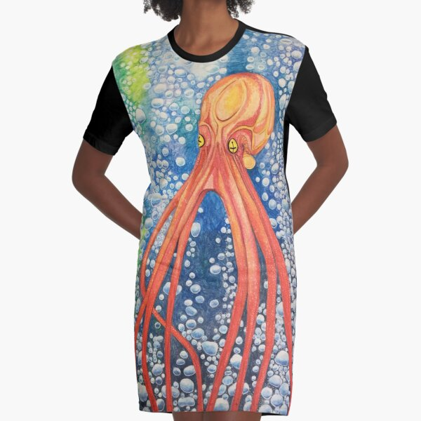 Red Bubble Squid Underwater  Graphic T-Shirt Dress