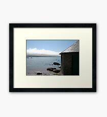 Cottage and sea fog, Mothecombe, South Hams, Devon, England, UK Framed Print