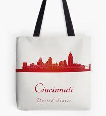 Cincinnati skyline in red Tote Bag
