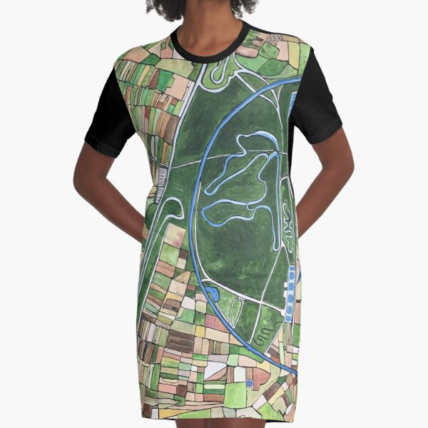 Nardo Ring, Italy - Ferrari test track viewed from the air  Graphic T-Shirt Dress