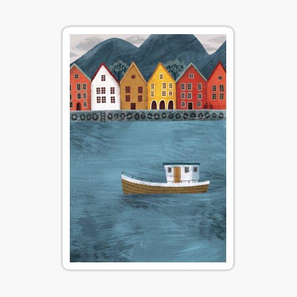 Bergen Fishing Village Harbour in Norway Sticker